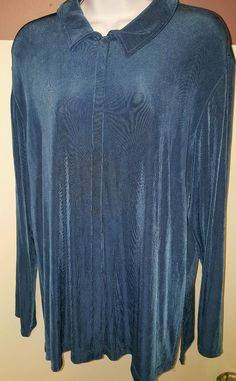 Chico's Travelers Snap ButtonJacket Blue Fox Long Sleeve Shirt SZ 3 NWT #Chicos #Blouse #Casual