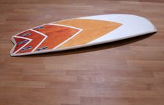 wooden surfboard design (with wood stains)