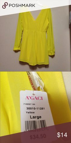 Romper yellow from agaci Yellow romper longsleeve brings a belt and golden yellow thin NEVER WORN ! a'gaci Dresses