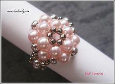 Round Pink Pearl Metal Flower Ring