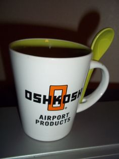 Oshkosh Airport Products Coffee Mug With Spoon FREE SHIPPING