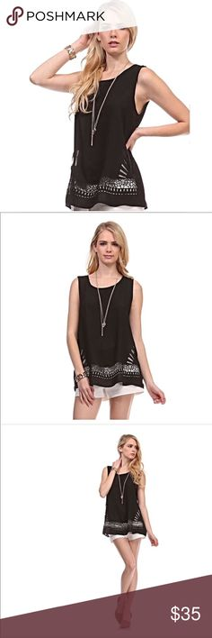 NWT Le Lis Laser Cut Sleeveless Tank - Black NWT Le Lis Laser Cut Sleeveless Tank - Black.  Great for work or play! 65% Cotton 35% Polyester. NO TRADES! Please use offer button to negotiate. Thanks! Le Lis Tops Tank Tops