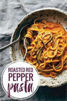 Garlic Roasted Red Pepper Pasta! with garlic, almond milk, roasted red ...