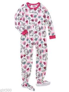 Hello Kitty Pink White Hearts Cat Soft Blanket Footed Sleeper One Piece Pajamas  #HelloKitty #Onesie