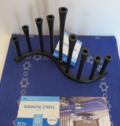 NEW-Menorah-Judaica-Jewish-Menora-Israel-Holy-Land-BLACK-Solid-METAL-BLUE-RUNNER