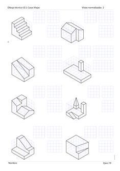 Blog sobre dibujo técnido de bachillerato. Sistema Diédrico. Graph Paper Drawings, 3d Drawings, Geometric Drawing, Geometric Logo, Isometric Drawing Exercises, Perspective Drawing Lessons, Interesting Drawings, Working Drawing, Math Projects