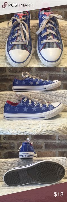 Converse All-Stars Junior size 2 patriotic Converse All-Stars. They have been worn but have a lot of life left. Converse Shoes Sneakers