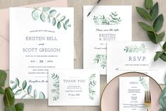 GET Eucalyptus Wedding Invitation Suite by ClementineCreative on This wedding invitation set with watercolour eucalyptus leaves is perfect for a woodland or forest wedding. It includes a total of 10 inserts to complete your wedding day. Glitter Invitations, Watercolor Wedding Invitations, Modern Wedding Invitations, Floral Invitation, Wedding Menu, Floral Wedding Invitations, Invitation Suite, Wedding Stationery, Wedding Cards