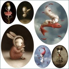 Nicoletta Ceccoli illustrations: I'm so intrigued by the work of the Italian illustrator and artist Nicoletta Ceccoli: tender and cruel at the same time, romantic and dark, like in any really good fairy tale. I love her poetic little mutant misses surrounded in dreamy mistery. Cute and spooky. See http://www.nicolettaceccoli.com