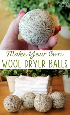 Wool dryer balls reduce the amount of time you need to run your dryer (and can sofen your clothes without fabric softener) - here's how to make your own!