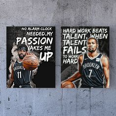 Kevin Durant Kyrie Irving Brooklyn Nets Motivation Bundle Canvas Poster Wall Art - 2 pieces - 11 x 14 / Premium Gallery Wraps (1.25″)