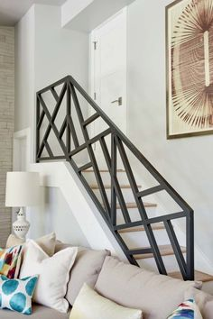 44 Awesome Modern Stairs Railing DesignYou can find Modern staircase and more on our Awesome Modern Stairs Railing Design Staircase Railing Design, Interior Stair Railing, Modern Stair Railing, Home Stairs Design, Balcony Railing Design, House Design, Railing Ideas, Staircase Design Modern, Loft Railing