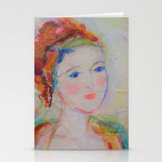 Portrait of a Beautiful Siren Daydreamer Acrylic Painting Stationery Cards by Fold Envelope, Blank White, Daydream, Envelopes, Watercolor Tattoo, Card Stock, Stationery, Greeting Cards, Smooth