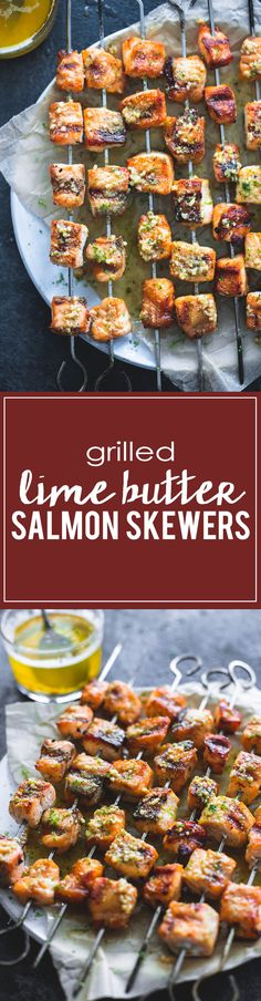 Grilled Lime Butter Salmon Skewers | lecremedelacrumb.com