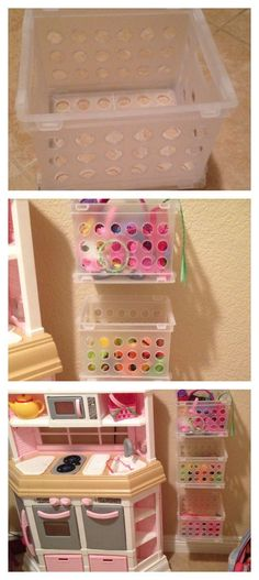 I got little crates from the 99cent store and made this for Jaslyn's toys