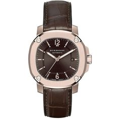 Burberry The Britain 18K Rose Goldplated Stainless Steel Watch,... ($3,195) ❤ liked on Polyvore featuring men's fashion, men's jewelry, men's watches and brown