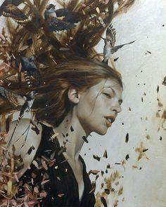 the paintings and artwork of brad kunkle. gold leaf artist and painter brad kunkle. Brad Kunkle, Light In, Painted Leaves, Figure Painting, Figurative Art, Artist At Work, Love Art, Street Art, Illustration Art