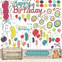 Birthday Clip Art - Balloon ClipArt - Stars from FishScraps Clip Art on TeachersNotebook.com (100 pages)  - Birthday Balloon Clip Art - Confetti, Ribbons, Stars - Birthday Party ClipArt - Digital Graphics