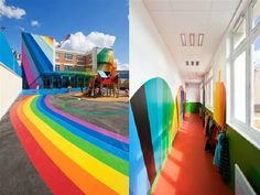 Rainbow Path in School Playground and Hallway School Design Renovation Kindergarten Design Children Classrooms Design