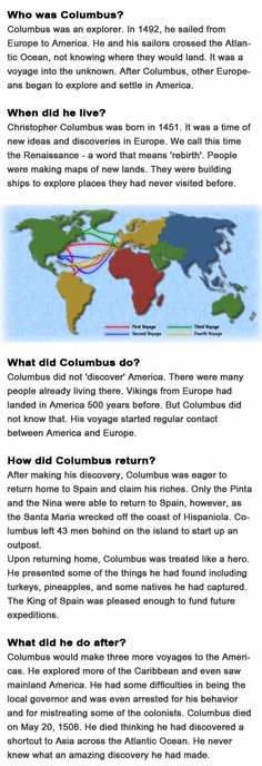 Facts about Christopher Columbus for kids http://firstchildhoodeducation.blogspot.com/2013/10/facts-about-christopher-columbus-for.html
