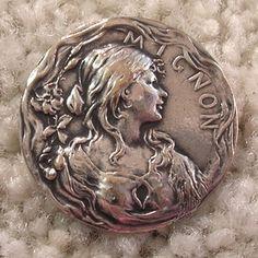 "RARE Antique French Art Nouveau ""Mignon"" Lady Silver Plated Button"