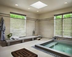 Just like a traditional Japanese bath house, this spa room provides a soaking tub and separate wash facilities