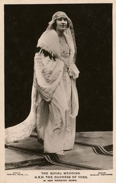 The 1923 Royal Wedding Dress of H.R.H. The Duchess of York - Lady Elizabeth Bowes-Lyon, the Queen Mother, photo by Central News Ltd.
