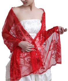 Women's Sequins Wedding Accessory Shawl Wrap Evening Party Shawls Scarves Girls Scarf (Red)