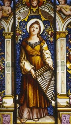St Cecilia, century stained glass by F.Zettler and Company of Munich Stained Glass Church, Stained Glass Windows, Religious Icons, Religious Art, St Cecelia, Mother Of Christ, Painting On Glass Windows, Catholic Pictures, Catholic Crafts