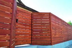 Clear Redwood - Horizontal, modern fence