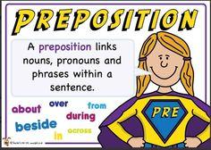 Preposition. Superhero themed grammar resource for Literacy KS1 and KS2