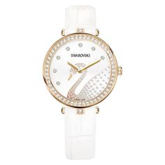 Give your look a sophisticated and elegant update with our first watch to feature the iconic Swarovski swan motif, sparkling on a white silver-tone. Shop now Swarovski Swan, Swarovski Crystals, Swarovski Watches, Stylish Watches, Love Ring, Modern Jewelry, Rose Gold Plates, Gemstone Jewelry, Bracelet Watch