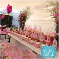 Paal Uh. Mesa de Postres & Snacks. Dulces. Rosa. Búho. Niña. Baby Shower. Pink.   Candybar.