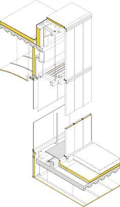 Axonometría de la doble hoja del cerramiento de la fachada.