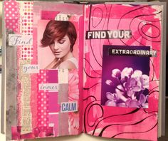Lovely style - Pink Art Journal Pages in the Altered Poetry Book by Rachel Mims  rachelmims.blogspot.com