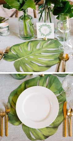 Paper Tropical Leaf Placemats - Love these!!