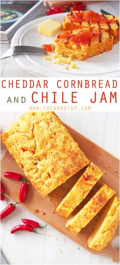 This savory cheddar cornbread is sliced and toasted on a grill pan or skillet before serving with chile jam. Jam Recipes, Veggie Recipes, Brunch Recipes, Wine Recipes, Bread Recipes, Baking Recipes, Veggie Food, Vegetarian Recipes, Healthy Dishes