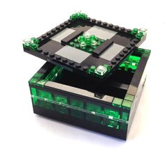 This jewelry box is sleek and moody. Lego Jewelry, Jewelry Box, Legos, Minifigures Lego, Lego Boxes, Brick Art, Love Box, Puzzle Box, Lego Projects