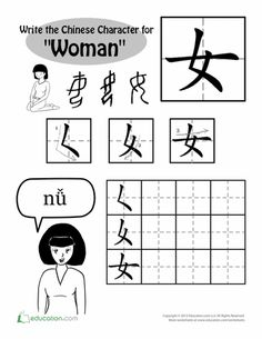 """Worksheets: Writing Chinese Characters: """"Woman"""""""