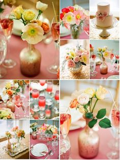 ooh! Great colors for Allie's Bridal shower maybe!! :D   Pink Champagne Cocktail / Engagement Party Shoot! Such awesome florals (and cake!!) ... Photography by Lane Dittoe Fine Art Weddings, Floral Design by Bride & Bloom Wedding Flowers