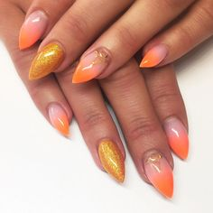 These glowing orange, gold, and pink nails were executed perfectly! Seriously, they're mesmerizing. Stiletto Nails, Pink Nails, Nail Art Diy, How To Do Nails, You Nailed It, Nail Art Designs, Fashion Beauty, Manicure, Hair Beauty