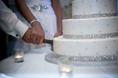 glamorous crystal-studded white wedding cake