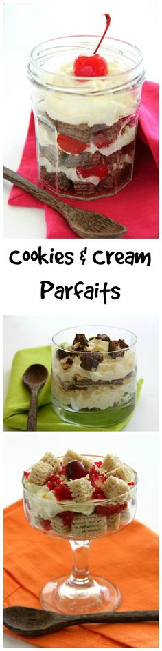 Cookies and Cream Parfaits: Flavored wafer cookies layered with homemade whipped cream and perhaps some fruit make a light, airy, perfectly elegant yet simple dessert on ShockinglyDelicious.com. #Loacker #parfait #dessert