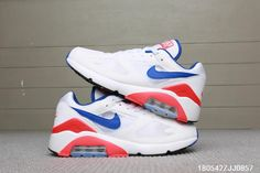 cheap for discount 12534 ff8f7 NIke Air Max 180 Ultramarine OG Running Chaussures Homme Blanc-Blue-Rouge  615287-