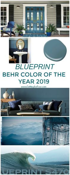 Beautiful Behr's just announced their color of the year 2019 and it's a gorgeous blue color! See how Blueprint paint color by Behr looks in real spaces and homes. It's a beautiful, livable denim blue color perfect for walls and furniture! The pos . Behr Paint Colors, Bedroom Paint Colors, Interior Paint Colors, Wall Painting Colors, Interior Design, Exterior Paint Colors For House, Paint Colors For Home, Exterior Colors, Paint Colors For Furniture