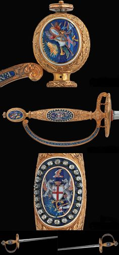 PRESENTATION SWORD TO LORD COLLINGWOOD City of London gold presentation small-sword of Vice Admiral Lord Collingwood British, London, dated 1806/7, 18k gold hilt surrounded by diamonds.