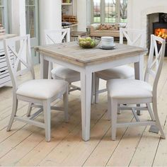 Chic Benson Grey Painted Furniture Extending Dining Table With Four Chairs Set Dining Furniture Sets from top store 6 Seater Dining Table, Gray Dining Chairs, Square Dining Tables, Dining Chair Set, Dining Room Table, Table And Chairs, A Table, Dining Bench, Kitchen Table Chairs
