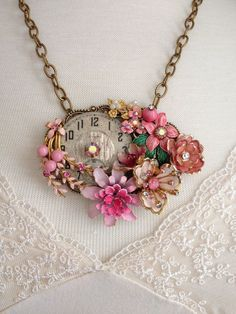 Repurposed vintage enamel flower necklace, vintage Elgin watch face, shabby chic, pinks, unique jewelry, OOAK, collage upcycled jewellry