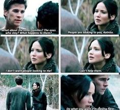 Katniss tries to run away from District 12 with her loved ones, but Gale refuses to go.  Two different rebels rebelling against the Capitol.