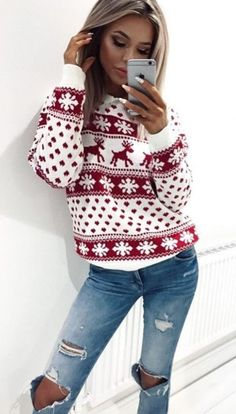 merry Christmas sweater red and white ripped jeans